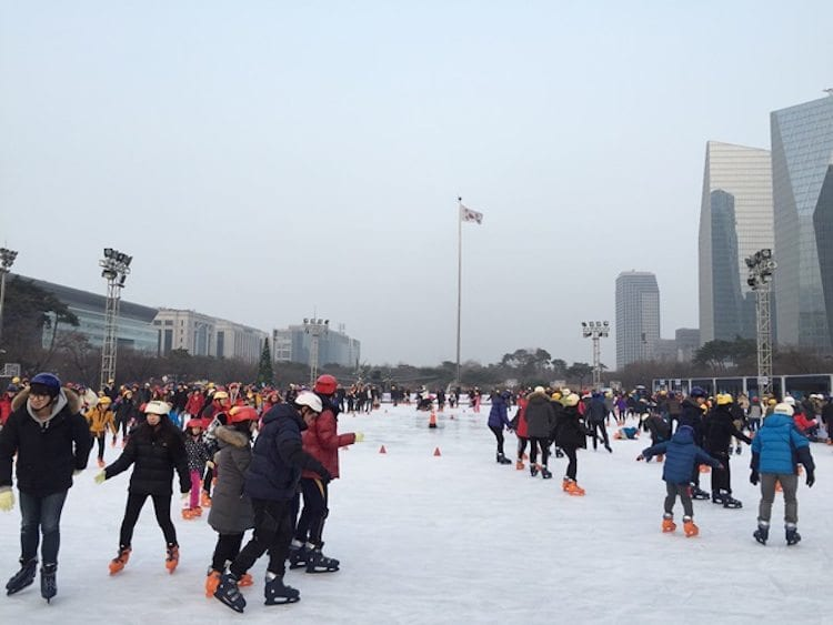 winter in South Korea Activities Things to Do Yeouido Park ice skating KTO