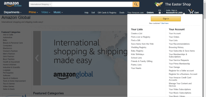 order amazon in korea
