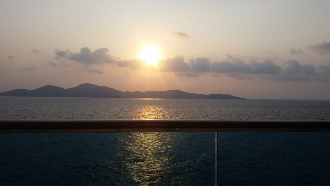 sunset balcony cruise ship vacation korea